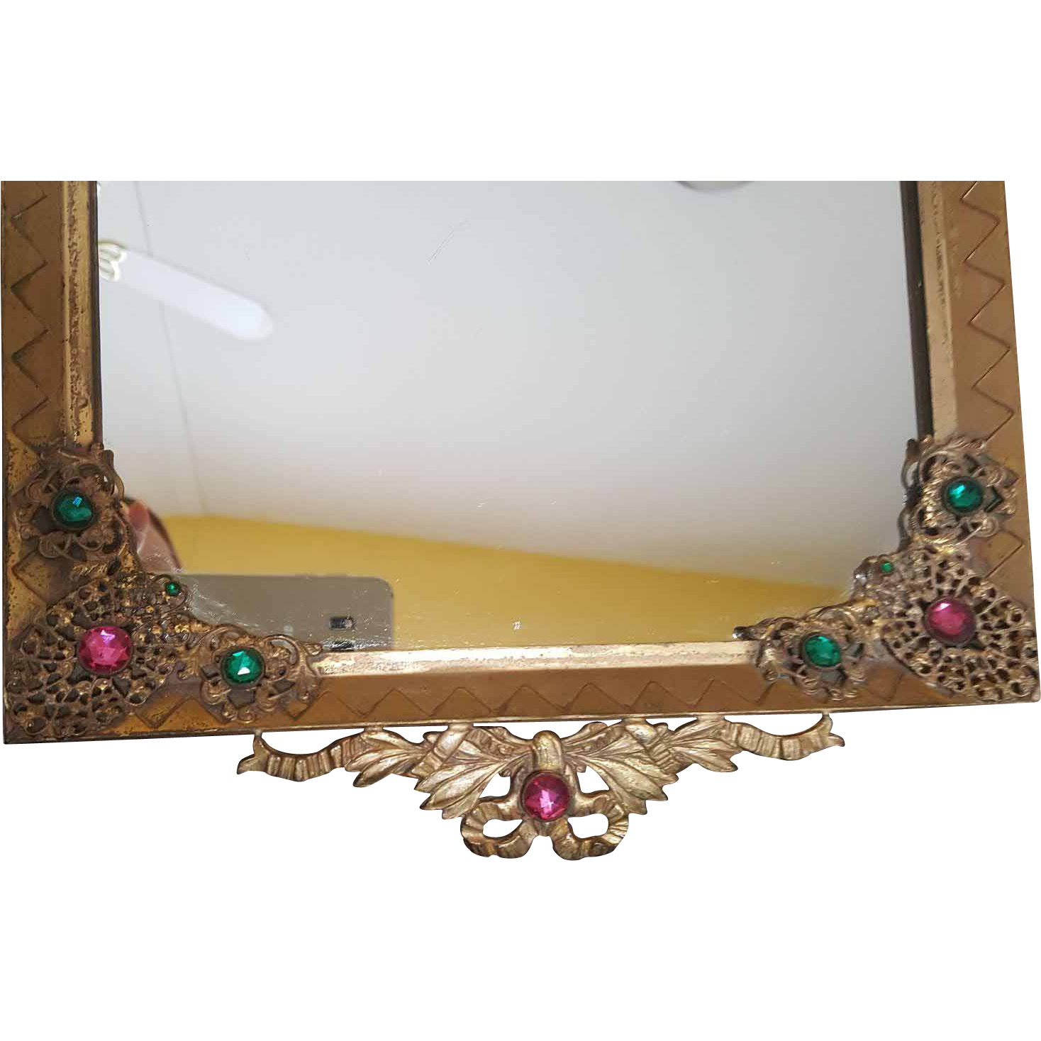 Antique vanity tray with lace insert - Vintage 1920 S E J B Empire Art Gold Jeweled Vanity Dresser Tray W Mirror W Gold Ormolu Gilt