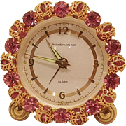 Vintage 1950's Phinney-Walker Rhinestone Alarm Clock Germany WORKS Excellent