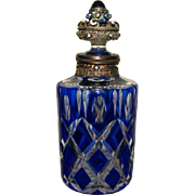 Rare Antique Jeweled Perfume Bottle Blue Cut to Clear