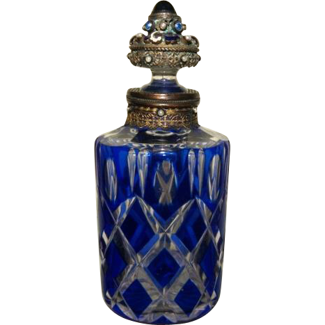 Rare antique jeweled perfume bottle blue cut to clear from for How to smooth cut glass bottles