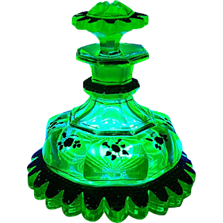 Ultra Rare Antique Uranium Green Glass Perfume Bottle Gold Jeweled Skirted