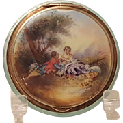 Vintage Sterling Silver & Blue Guilloche w/enamel Courting Scene Compact Germany