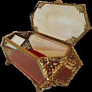 "Lrg. 11"" long Vintage Vitrine Casket Trinket Box Beveled Glass Ormolu"