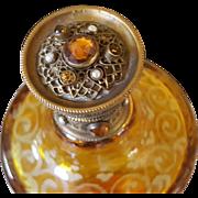 Rare Antique Lrg. Jeweled Perfume Gold Ormolu Amber Glass Cologne Bottle Austria or Bohemain