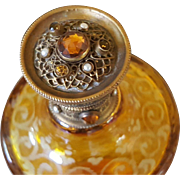 Rare Antique Lrg. Jeweled Perfume Gold Ormolu Amber Glass Cologne Bottle Austria or Bohemain