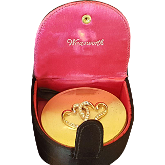 Vintage Wadsworth Double Linked Jeweled Hearts in Org. Presentation Box!