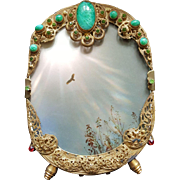"Antique 6.5"" Austrian Jeweled Bronze Vanity Picture Frame w/ Cabochon & Green Glass Stones Gold Ormolu Filigree"