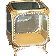 Lrg Vintage Jewelry  Casket Gold Ormolu & Beveled Glass