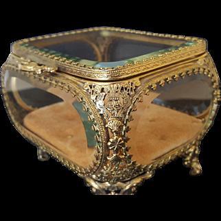 Vintage Jewelry  Casket Gold Ormolu & Beveled Glass