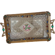 Extra Fancy Vintage Jeweled Vanity Tray w/ Lace Insert