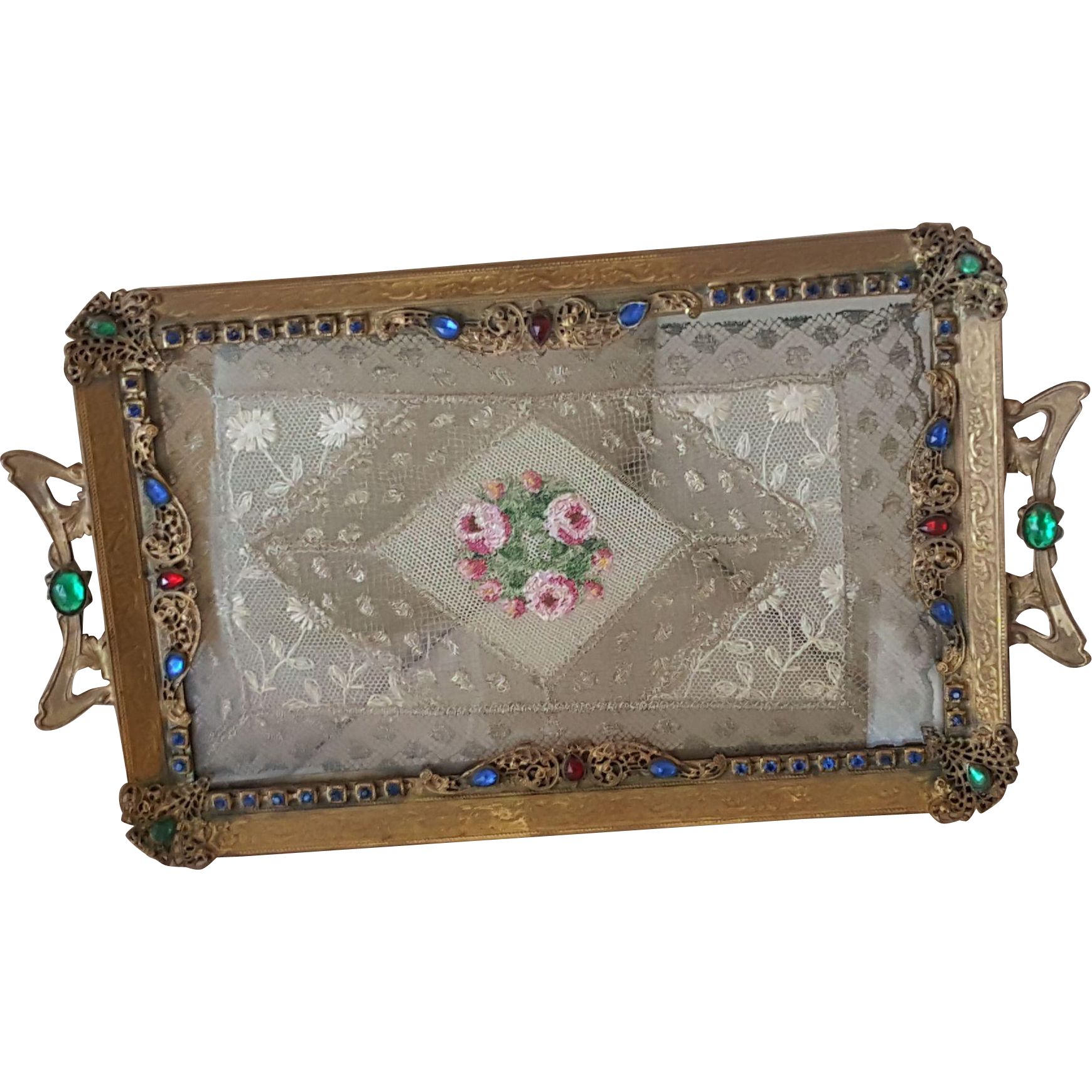 Antique vanity tray with lace insert - Extra Fancy Vintage Jeweled Vanity Tray W Lace Insert