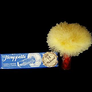 1920's French Down POWDER PUFF BREVETE Houppette PLI Celluloid Tube w/BOX