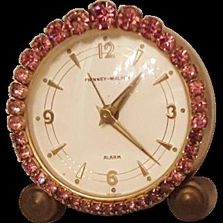 Stunning PINK ! Jeweled Vintage Phinney-Walker Alarm Vanity German Clock WORKS!