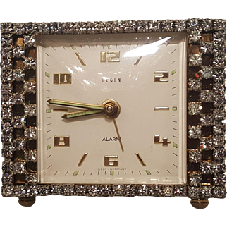 Sparkling Vintage Rhinestone Vanity Clock WORKS!