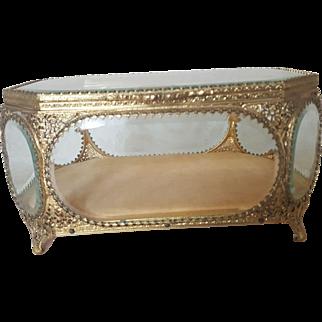 LRG. Globe Jewelry Casket Beveled Glass Ormolu Vitrine Display Case Trinket Box