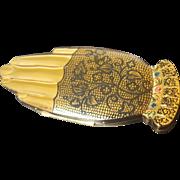 Superb Volupte Compact Figural Shape Hand Golden Guester Black lace glove
