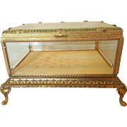 Sizable French Casket w/ Beveled Glass Vitrine Display Large Jewelry Box    Huge & Heavy