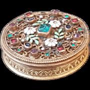 Antique Jeweled & Enamel Compact Austria