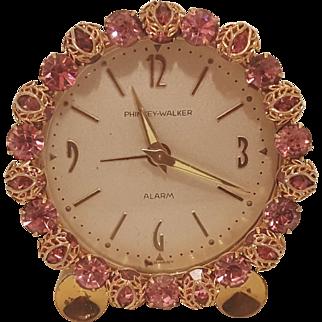 Dazzling PINK ! Jeweled w/ Filigree Vintage Phinney-Walker Alarm Vanity German Clock WORKS!