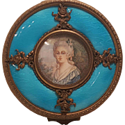 Antique French Powder Jar w/ signed Portrait Marked France Bronze & Glass
