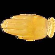 """Vintage Volupte """"Golden Guester"""" Compact Figural Shape Hand Golden Guester"""