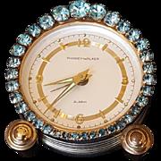 Stunning Jeweled Vintage Phinney-Walker Alarm Clock Blue Rhinestone Germany Works!