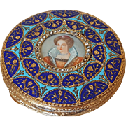 Vintage Itialian Compact w/ Miniature Portrait, Colorful Enamel & Jeweled