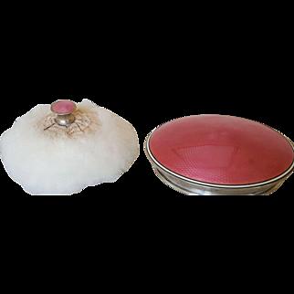 Fine Antique Sterling Silver & Pink Guilloche Swan's Down Powder Puff & Jar