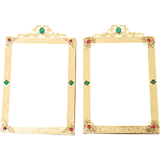 Pair Antique Gold Jeweled Picture Frames w/ Bows  Excellent Condition French Style