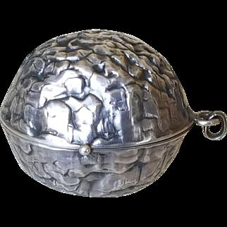1920's Sterling Combo Compact / Perfume Bottle / Pendent/ Locket figural WalnutChateliane / Pin Cushion / Swans Down Powder Puff