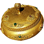 Antique 1920's Jeweled & Filigree Powder bowl Jar / Trinket Box Gold Ormolu