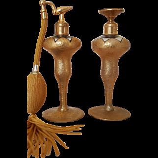 1920's Gold Encrusted Set of DevIlbiss Perfume Bottles Dauber & Atomizer