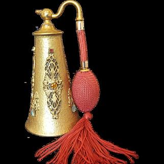 Silvercraft Jeweled Perfume Bottle Atomizer  1920's
