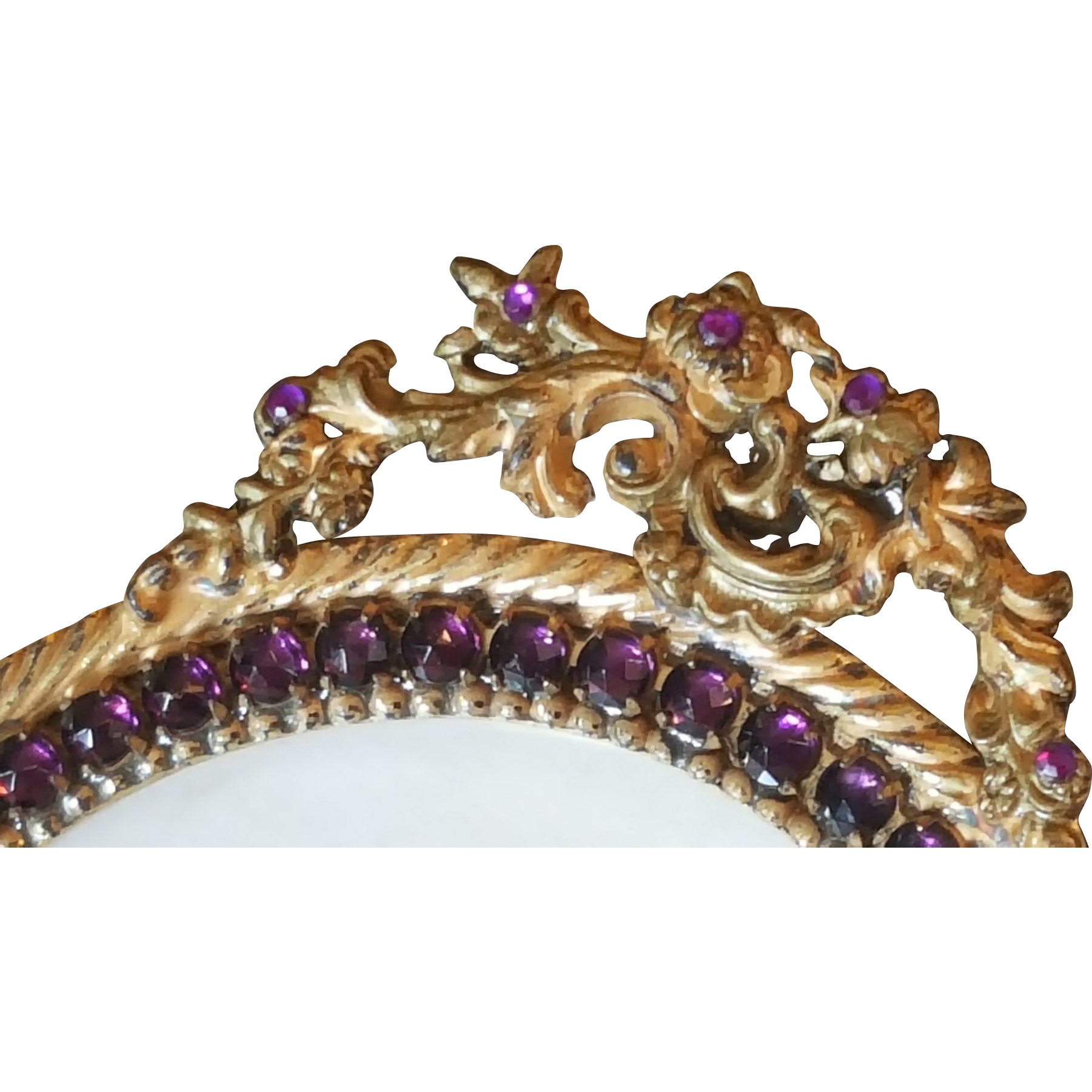 Antique Jeweled Picture Frame Gold Ormolu w/ Purple Glass Stones