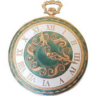Vintage Clock Compact made in Italy Figural shape of a Pocket Watch