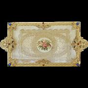 "1920's Gold Silvercraft Jeweled Vanity Tray w/ Lace Insert 16"" x 8"""