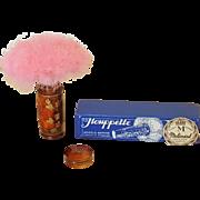 VTG 1920's French PINK Down Powder Puff Brevette Houppette PLI Celluloid Tube wBOX
