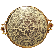 1920's Jeweled Vanity Tray w/ Lace Insert