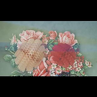Huge Vintage Fold Out Valentine's Card in a Fine Shadow Box Frame Ornate Gilt