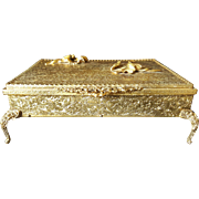 Luxurious Globe Jewelry Casket Trinket Box Gold Plate