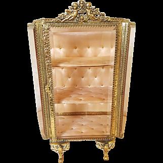 Lrg. Vintage French Pink Beveled Glass Stand-up Casket Miniature Vitrine
