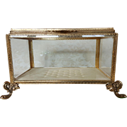 Sizable Vintage Casket w/ Beveled Glass Vitrine Display Large Jewelry Box Huge & Heavy