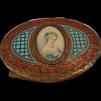 Vintage Silver Italian Compact w/ Miniature Portrait Red & Blue Enamel