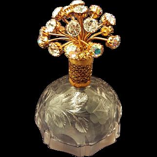Vintage Jeweled Rhinestone Irice Perfume Atomizer Bottle