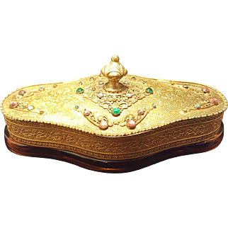 Antique Apollo Studios Jeweled Vanity Box Powder Jar * Trinket Dresser