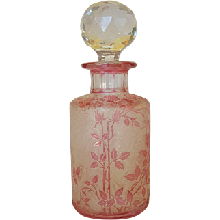 Antique Val St. Lambert Perfume Bottle ca1900 Pink Cameo Glass Acid Cut Signed