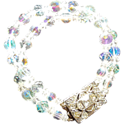 Vintage Crystal Aurora Borealis Bracelet w/ Rhinestone Sq. Medallion