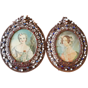 Antique PAIR of Jeweled Picture Frames w/ Miniature Portraits