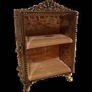 Fab Vintage double shelf Vitrine Jewelry  Trinket Box Casket Globe 22kt Gold Plate beveled glass