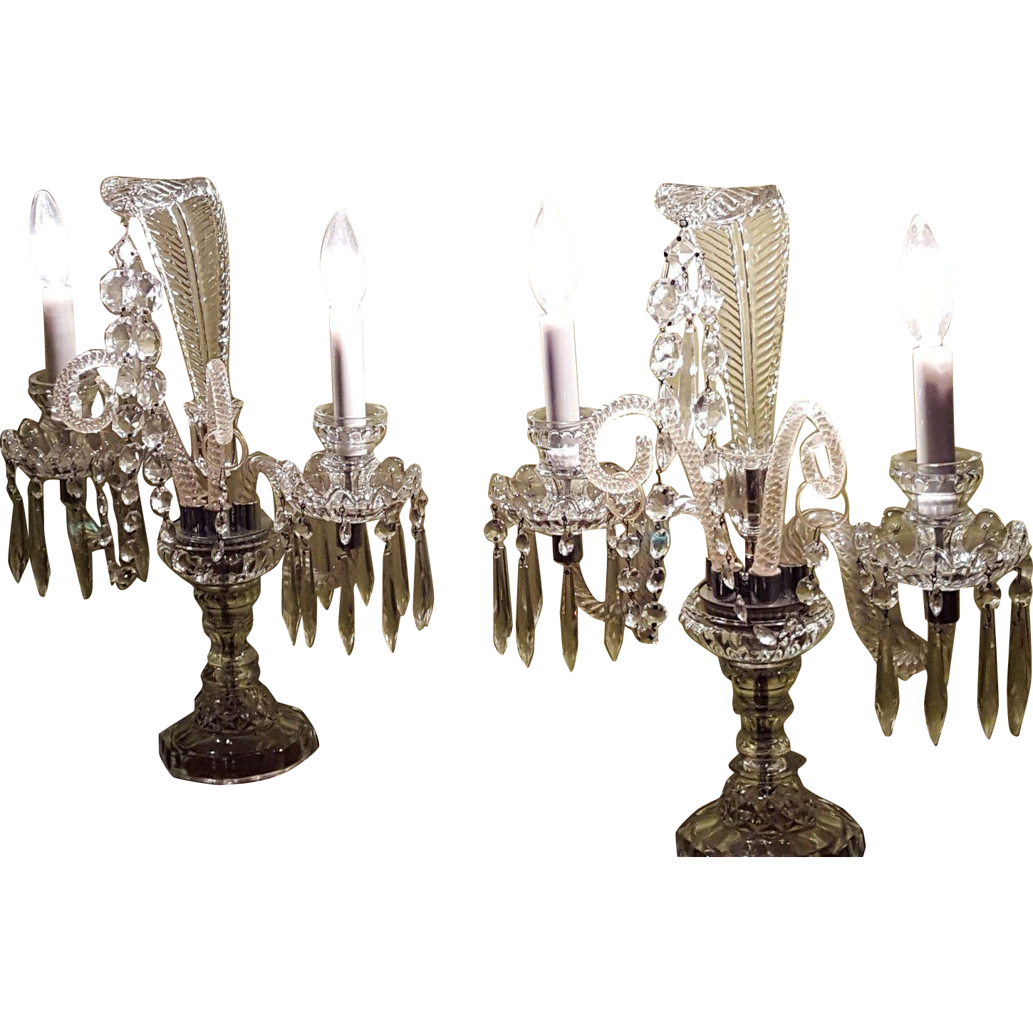 pair art deco crystal chandelier candelabra table lamp glass w big feather tops pair